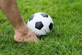 他的脚足球球 — 图库照片