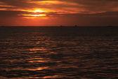 Sunset at coast of the sea — Stock Photo