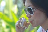 Young women drinking tea. — Stock Photo
