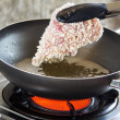 Pork fried in a pan. — Stock Photo