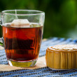 Mooncakes and tea — Stock Photo