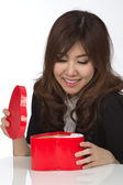 Asian woman and gift — ストック写真