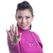 Portrait of girl showing hand — Stock Photo