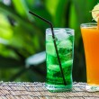 Green fruit sodand orange juice — Stock Photo #32951265