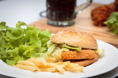 Ishburger with french fries. — Stock Photo