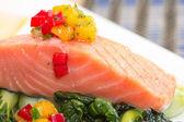 Grilled salmon steak — Stock fotografie