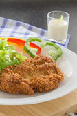 Deep fried breaded pork rice with salad — Stock Photo