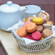 Stock Photo: Macaron in basket