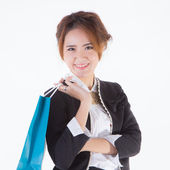 Woman holding shopping bags — 图库照片