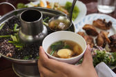 Seaweed soup with minced pork — Stock Photo