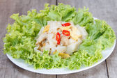 Wymieszać makaron smażony ryż z kurczakiem — Zdjęcie stockowe