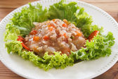 Noodles with tomato sauce and minced pork — Stock Photo