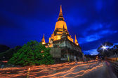 Buddhist Lent Day at night time — Stock Photo