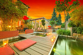 Private Garden at Sunset — Stock Photo