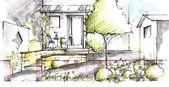 Garden plan View Sketch — Stock Photo