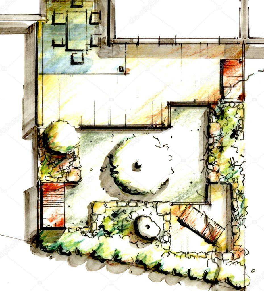garten skizze design — stockfoto © krappweis #12836194, Garten Ideen