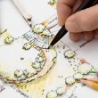 Garden Design Blueprint Sketching - Stock Photo