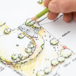 Garden Design Blueprint Sketching — Stock Photo
