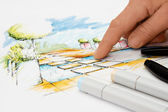 Landscape Architect showing Detail on Blueprint — Stock Photo