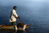Fisherman in first Morning Light — Stock Photo