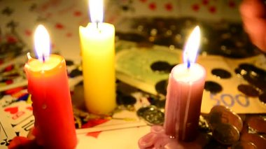 Gambling by candlelight — Stock Video