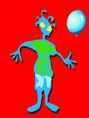 滑稽的人与一个蓝色气球 — 图库照片