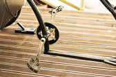 The pedals of a bicycle chromed metal — Stock Photo