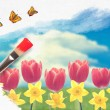 Painting Tulips — Stock Photo