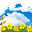 Painting Daffodils — Stock Photo