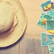 Sunhat & Postcards — Stock Photo