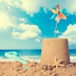 Stock Photo: Sandcastle On Beach