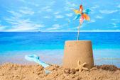 Sandcastle On Beach — Stock Photo
