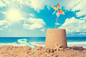 Sandcastle On Beach — Stock Photo