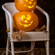 Stock Photo: Brightly Lit Jack O Lanterns