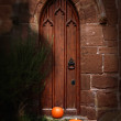 Church Door At Halloween — Stock Photo