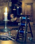 Антикварная швейная элементы — Стоковое фото
