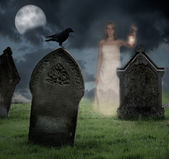 Woman Haunting Cemetery — Stock Photo