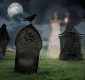 Woman Haunting Cemetery — Stock Photo