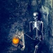 Skeleton With Jack O Lantern — Stock Photo
