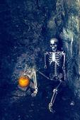 скелет с jack o фонарь — Стоковое фото