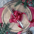 Winter Table Setting — Stock Photo