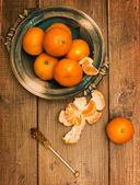Klementynki na desce — Zdjęcie stockowe