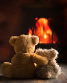 Teddies By The Fire — Stock Photo