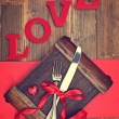 Stock Photo: Valentine's Cutlery