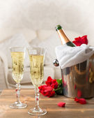Champagne & Ice Bucket — Stock Photo