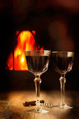 Wine By The Fire — Stock Photo
