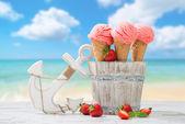 Strawberry Fruit Ice Cream — Stock Photo