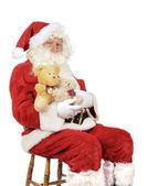 Santa Holding Teddy Bears — Stock Photo