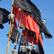 Stock Photo: Red and black flags