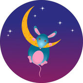 мышь на луне — Cтоковый вектор